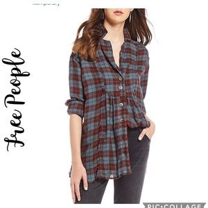NWT All About the Feels Woven Plaid Top